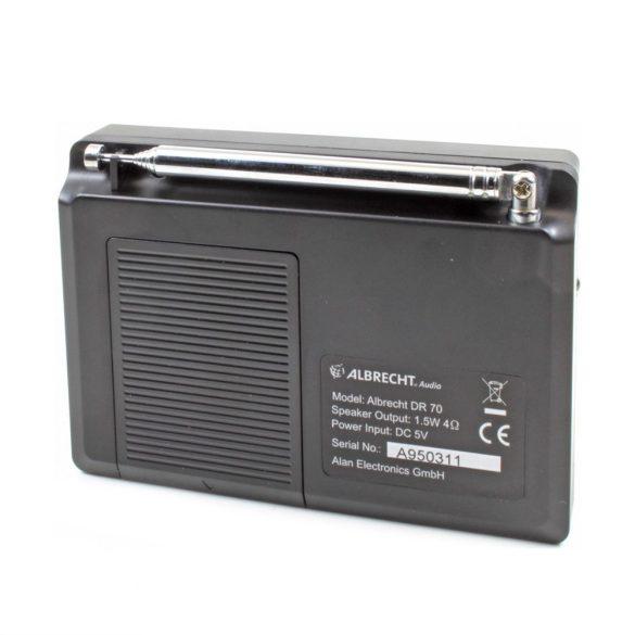 Albrecht DR 70 hordozható FM/DAB rádió, színes kijelzővel, RDS-el (27370)