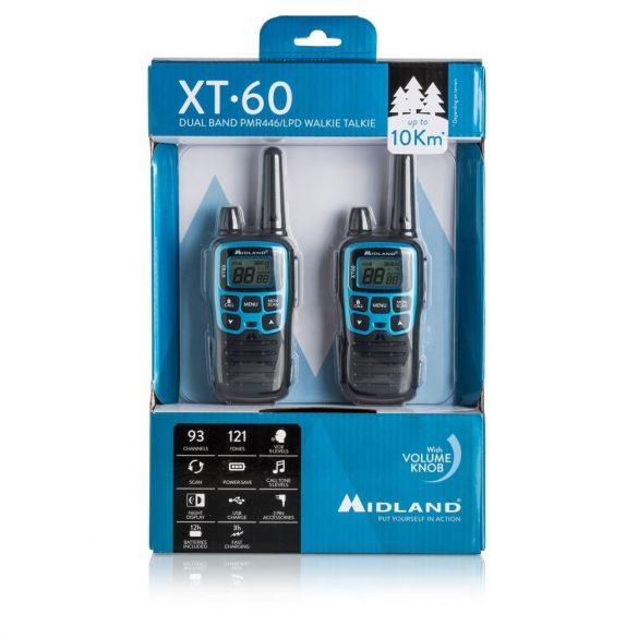 Midland XT60, 10km-es, akkumulátoros adó-vevő, dokkolóval, headsettel (C1179)