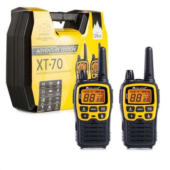 Midland XT70 ADVENTURE, 12km-es, akkumulátoros adó-vevő, dokkolóval, headsettel (C1180-01)