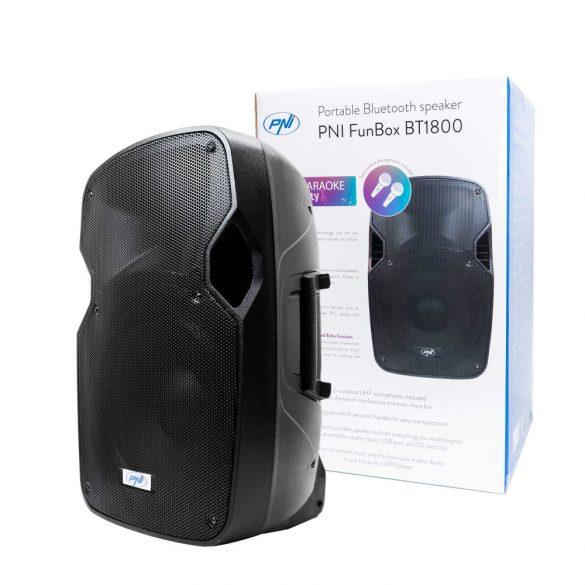 PNI Hordozható, akkumulátoros, 180W, aktív hangfal és médialejátszó, 2db karaokee mikrofonnal (PNI-BT1800K)