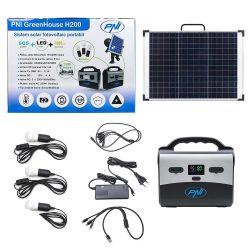 PNI Hordozható napelemes akkubox, LED világítással, 2 konnektorral (PNI-GH-H200)