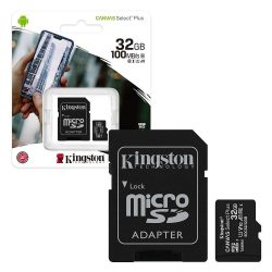 Kingston MicroSDXC 32GB memóriakártya, Class10, UHS-1, 100MB/s+Adapter (PNI-KIMSDXC32GB)