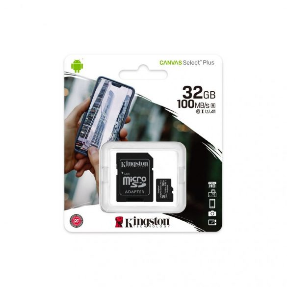 Kingston MicroSDXC 32GB memóriakártya, Class10, UHS-1, 100MB/s+Adapter (PNI-KIMSDXC32GB)