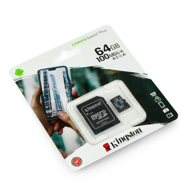 Kingston MicroSDXC 64GB memóriakártya, Class10, UHS-1, 80MB/s+Adapter (PNI-KIMSDXC64)