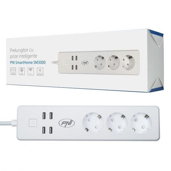 PNI WiFi-s okos 3-as elosztó konnektor 4db USB-vel (PNI-SPS150)